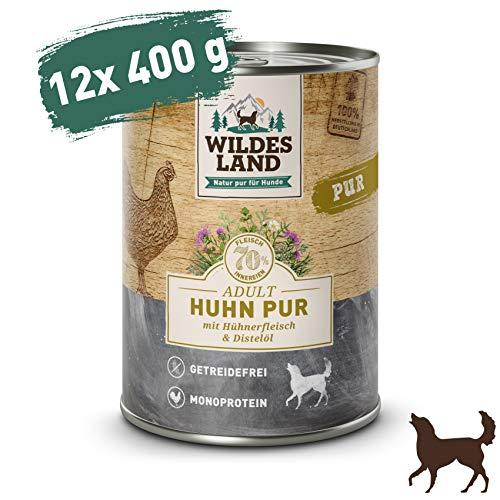 mächtig der welt Wildnis    Nasses Hundefutter    Sauberes Huhn    12 x 400 g    Mit Distelöl  Getreidefrei…