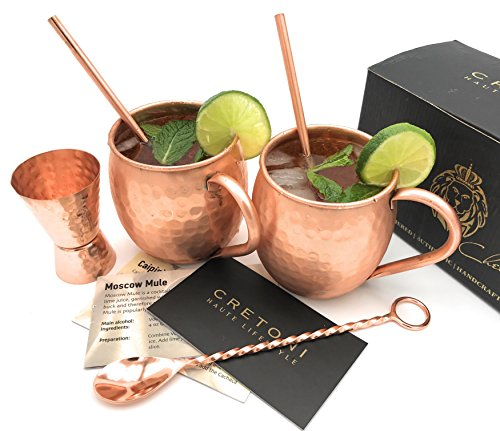 Cretoni Copperlin Reines Kupfer gehämmert Moscow Mule Tassen 2er-Set mit Bonus Handcrafted 16 Unzen Becher mit 2 Kupfer Strohhalme, Hammered Jigger & Twisted-Bar Löffel Das ultimative Geschenk-Set!