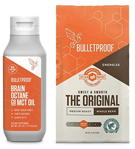 Bulletproof Original Roast Whole Bean Coffee with Brain Octane PURE MCT oil 100% C8, Keto and Paleo Diet, Clean, Rainforest-Alliance certified, Vegan, Non-GMO, Bundle and Save! (Whole Bean + MCT oil kit)