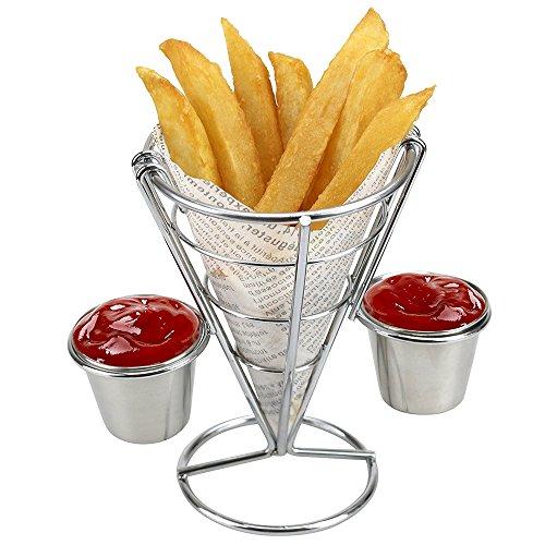 French Fry Stand Cone Basket Con Soporte Para 2 Salsas, French Fry Soporte Cono Cesta Para Home Partes, Backyard Picnics Y Eventos Al Aire Libre