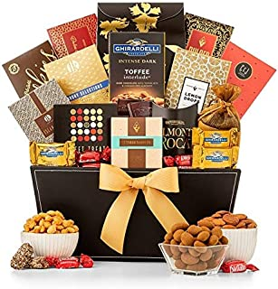 GiftTree Thinking of You Grand Reception Gift Basket   Ghiradelli Chocolate, Peach Rings, Lemon Drops, Tropical Mix, Assorted Nuts, Chocolate Chip Cookies and More   Show Them They're On Your Mind