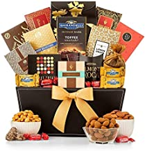 GiftTree Thinking of You Grand Reception Gift Basket | Caramel Stroopwafel, Peach Rings, Lemon Drops, Tropical Mix, Assorted Nuts, Chocolate Chip Cookies and More | Show Them They're On Your Mind