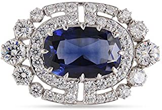 Adastra Jewelry Victorian Style Brooch Pin For Women Men Blue Cushion Simulated Diamond 14k White Gold Plated Wedding Bridal Wear Halloween Holiday Handmade Jewelry Gift Idea
