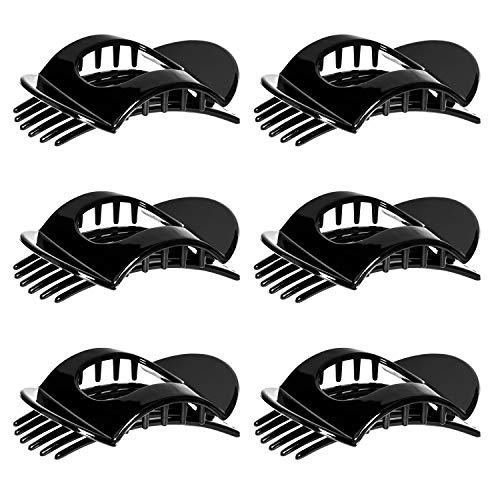RC ROCHE ORNAMENT 6 Pcs Womens Square Strong Grip Secure Hold Inner Teeth Styling Plastic Comfortable Curve No Slip Beauty Accessory Girls Ladies Claw Clamp Clip, Medium Black