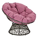 OSP Home Furnishings Papasan Chair with 360-degree Swivel, Purple cushion and Grey Frame
