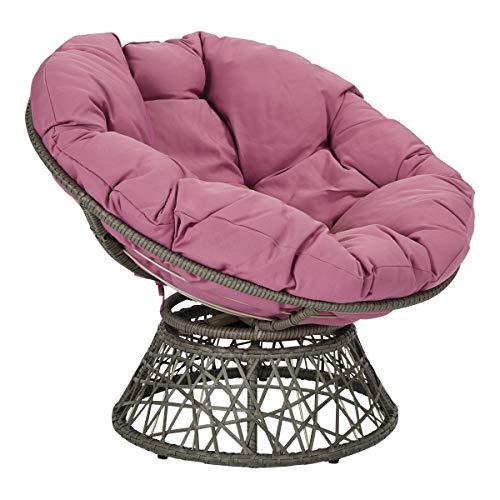 OSP Designs Papasan Chair with 360-degree Swivel, Purple cushion and Grey Frame