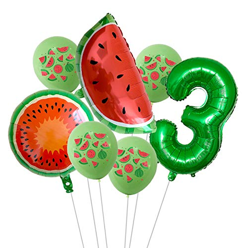 XIAOYAN Balloon 7Pcs/lot Summer Party Balloons Fruit Watermelon Birthday Decoration Number Balloon Kids Birthday Party Baby Shower Decor Globos (Color : Agate)
