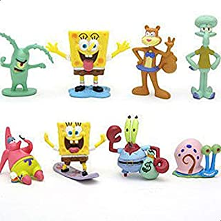 SpongeBob SquarePants 8 Piece Play Set with 8 SpongeBob Figures Featuring Squidward, Sandy Cheeks, Patrick Star, Mr. Krabs...