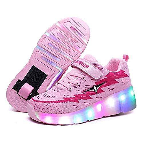 Lucky Kids Jungen Mädchen Mode LED Schuhe mit Rollen Kinder Outdoor Gymnastik LED Rollenschuhe 7 Farbe LED Lichter Leuchtend Doppelräder Skateboard Sneaker mit USB Aufladbare