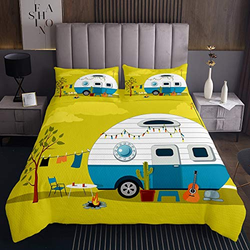 Erosebridal Cactus Bedspread, Guitar Quilted Coverlet Queen Size Hawaiian Vacation Cartoon Quilt for Kids Girls Boys Teens Car Traveling Vintage Camper Fire Pit Coverlet Set, Yellow