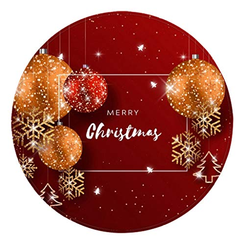 Deloito Weihnachten Gedruckt Teppiche Wohnzimmer Badematte Küchentür Badezimmer Saugmatte Bodenteppich Runden Fußmatte Home Decor (D1,60 X 60cm)