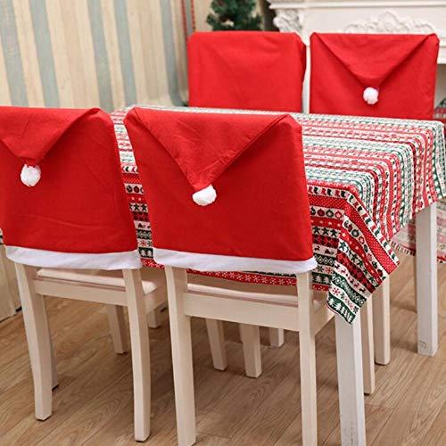 Generic Christmas Theme Chair Back Cover Hood Coprisedia a Tema Natalizio con Babbo Natale, Colore Rosso, con Fiocco di Neve, con Pompon sul Retro Corto, in Tessuto, 50 x 70 cm, 4 Pezzi, Feltro, unità