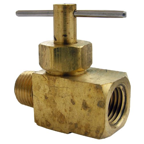 LASCO 17-1911 1/4-Inch Female Pipe Thread by 1/4-Inch Male Pipe Thread Straight Brass Needle Valve