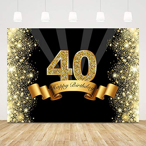 40th Birthday Backdrop Bokeh Glitter Gold Forty Photo Background 7x5ft Diamond 40 Birthday Party Decorations 40 Years Birthday Backdrop Banner 40th Birthday Photo Booth Props Cake Table Supplies