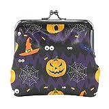 Monedero con diseño de murciélagos de calabaza para Halloween, estilo vintage, de piel sintética, para mujeres, niñas, adolescentes y niños