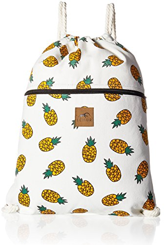 """Lemur Bags Canvas Drawstring Backpack with Front Zipper Pocket - Large 19"""" x 13"""" Gym, School, Travel Day Bag - Thick Durable 100% Natural Canvas Material with Soft Cotton Strings (Bananas)"""
