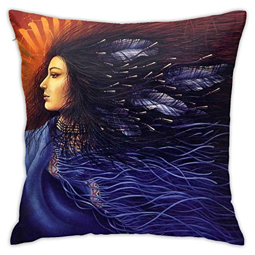 Hangdachang Women Artistic Throw Pillow Case Square Sofa Pillow Cover Home Decorative 18x18 Inch Cushion Covers With Zipper, Double Sided Print