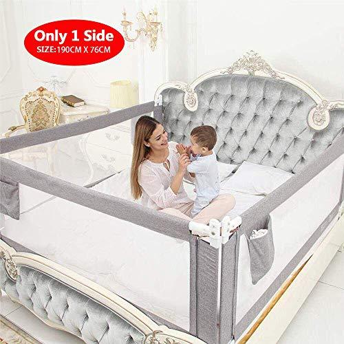 ZEHNHASE Barandilla de La Cama para bebés, Barrera de cama para niños Colchón doble, doble, tamaño completo tamaño queen y king (gris, 190cm)