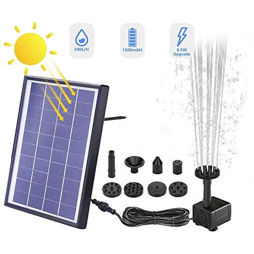 Cotify Pompa per Fontana Solare 6.5 W Pompa per Acqua Solare da con Batteria Solare Integrata Pompa per Fontana Galleggiante con 6 Tipi di Fontana per Giardino Vasca per Uccelli Laghetto Pesci