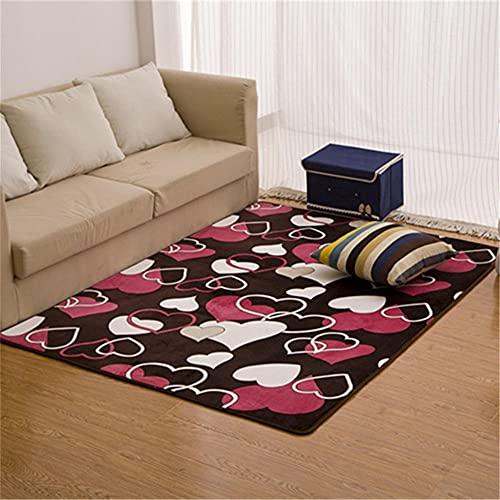 alfombras recibidor,Alfombra roja, diseño de patrón en Forma de corazón, sofá Alfombra Moderna Moderna ,Alfombra Suelo Escritorio -Rojo_140x200cm