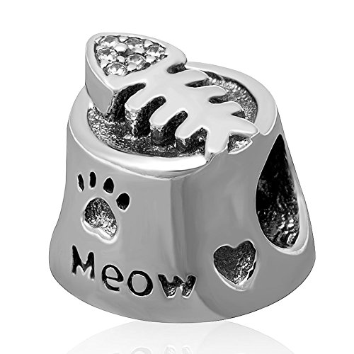 Meow Cat Bowl Charm with Clear CZ Fish Bone 925 Sterling Silver Pet Paw Print Beads Fit Pandora Charms Bracelet by fit pandora style Bracelet