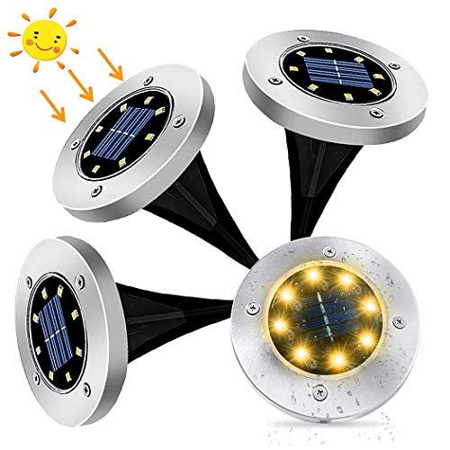 4Pcs Luces Solares para Exterior Jardin 8 leds,IP65 Focos led Exterior Solar, Acero Inoxidable Luce de Tierra Lámpara Suelo Iluminación para Yard Paisaje Driveway Lawn (blanco cálido)