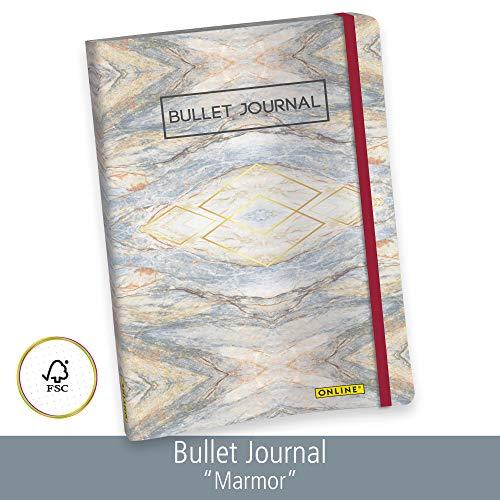 ONLINE Bullet Journal, Marmor, Dotted-Notizbuch mit Soft Cover, Gummiband, DIN A5, 90g/m² Papier