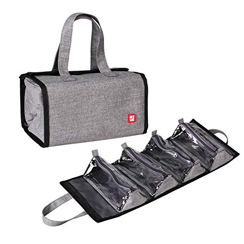 Jovilife 4 in 1 Hanging Roll Up Makeup Bag, Travel Toiletry Bag for Women and Men, Hanging Travel Cases,4 Kit Removable Bags Organizer, Make up,Cosmetics,Bathroom,Medicine,Personal Care(Grey)