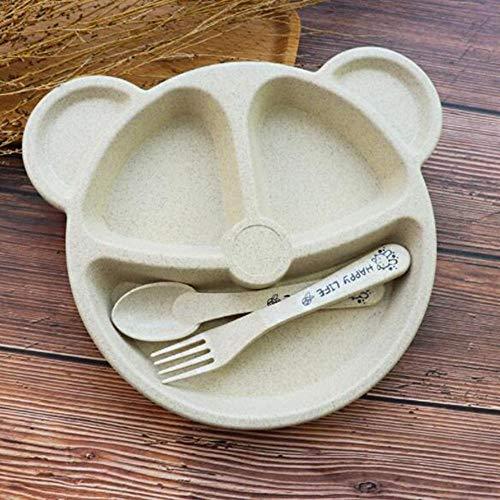 Juego de cuencos de Ramen, vajilla creativa, bandeja de desayuno, bandeja de desayuno y tenedor y cuchara, cubos, juego de cena para niños, pajita de trigo (color gris)