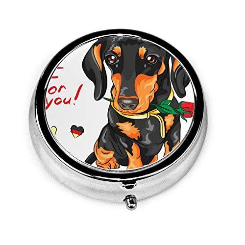 LINGF Dog Dachshund con flor roja,3 compartimentos,estuche para pastillas para medicinas,redondo,plateado,para pastillas,bolsillo,2 pulgadas,organizador para tabletas