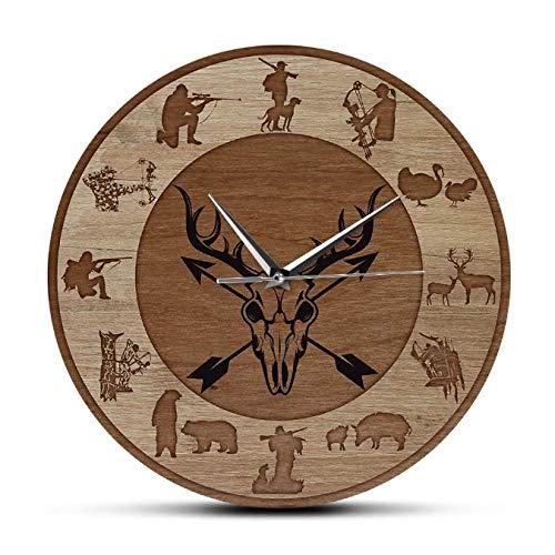 mazhant Arco de Caza Silencioso Reloj de Pared sin tictac Impresiones de la Vida Silvestre Cabaña Lodge Decoración del hogar Reloj Colgante Reloj de Pared Ideas de Regalos para Aire libre-30X30cm