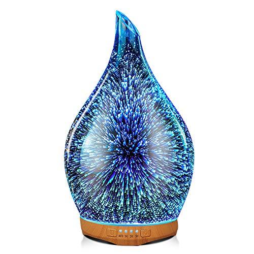 Porseme Aroma Diffuser Luftbefeuchter 280ml 3D Luftbefeuchter Ultraschall Leise 7 farbwechselnde LEDs Raumbefeuchter BPA Frei für Wohnung Yoga SPA mit Timer (Silver)