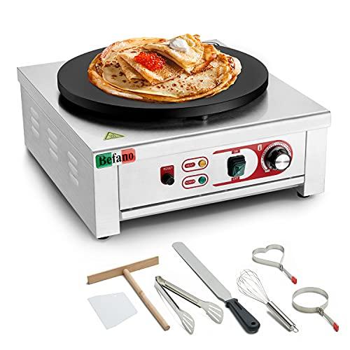 Befano Crepera de calidad profesional, 3000 W, diámetro de 40 cm, placa antiadherente, distribuidor de masa y espátula, dispositivo para cremas para tortitas, tortitas, tortillas, jamones palatados