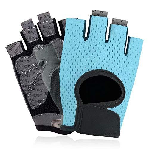 LONGU Workout Gloves Breathable Non-Slip Silica Gel Grip Exercise Gloves Men and Women for Weightlifting,Yoga,Dumbbell,Bodybuilding Sport Blue