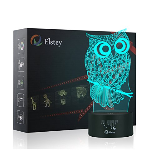 Owl 3D Illusion Lamp, Elstey 7 Color Changing...