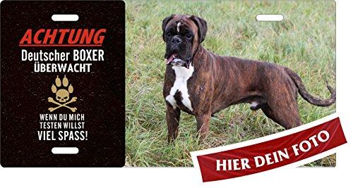 Holashirts Mallorca Hunde-Schild Achtung Deutscher Boxer überwacht Blechschild eigenes Foto, Text selbst gestalten Metallschild Warnschild Türschild für innen und außen