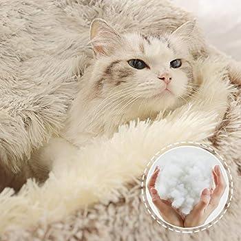 Sfit Panier Rond pour Animal de Compagnie Coussin Chat Panier Donut Lit Ultra-Doux Nid Chiot Respirant Portable Panier Niche Caverne Lavable (Marron Polaire,40 * 40cm)