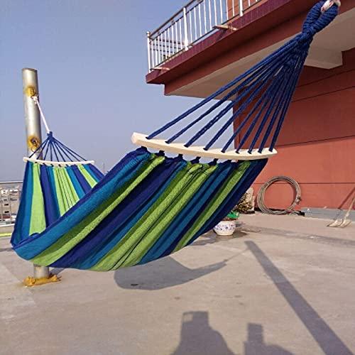 FACWAWF Hamaca De Viaje para Acampar Al Aire Libre Hamaca De Lona Hamaca De Palo Curvada Sola Hamaca Doble 240x80cm