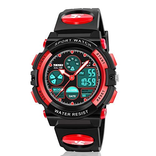 Dodosky Digitale Armbanduhr für Jungen, Sport, wasserdicht, LED-Uhr mit Wecker, Armbanduhr für Jungen und Mädchen, Red-A