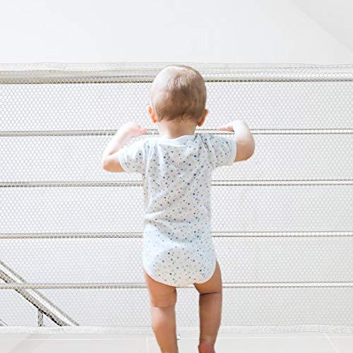Red de Protección Duradero Red de Seguridad Escaleras Malla Tejida para Escaleras Balcones Terrazas PuertasVentanas Bebé Mascota 75cm * 3m Blanco