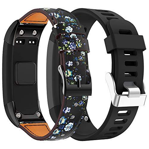 Supore Garmin Vivosmart HR Armband Uhrenarmband, Ersatzarmband, Zubehör Verstellbares Weiches Cortex Band Armbanduhren Entwickelt für Garmin Vivosmart HR Smart Watc (Schwarz + grüne Blume)