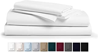 """Kemberly Home Collection 800 Thread Count 100% Pure Egyptian Cotton – Sateen Weave Premium Bed Sheets, 4- Piece White Queen- Size Luxury Sheet Set, Fits mattresses Upto 18"""" deep Pocket"""
