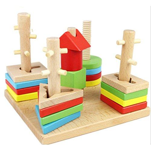LEORX Formensortierspiel Hölz Bausteine Steckspielzeug Stapelspiel für Kinder