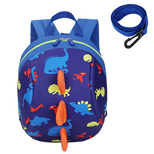 Kids Toddlers Dinosaur Backpack with Anti-Lost Safety Leash Harness Strap, Children Dragon Backpack Rucksack School Bag for Boys Girls (XKL-B)