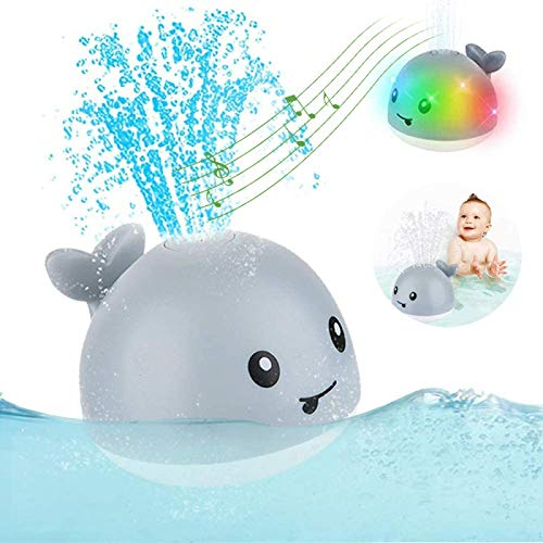 siqiwl Beach Toys Baby Bath Toys Spray Water Shower Swim Toys for Kids Electric Whale Bath Ball with Light Music LED Light Toys Gift