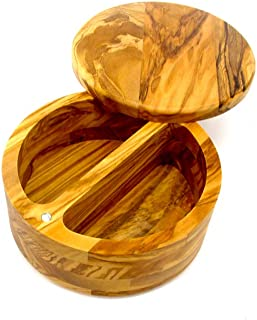 Olive Wood Salt Cellar Box Container by Trademark Innovations