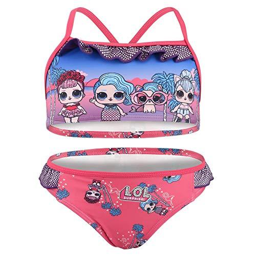 Characters Cartoons LOL Surprise – Disfraz de bikini de 2 piezas para la playa o la piscina – Producto original con licencia oficial 1813 Fucsia 9 años