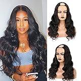 Hiyorlik U Part Body Wave Peluca Pelucas brasileñas de cabello humano con clips Densidad 150 Ninguno Pelucas delanteras de encaje sin cola en forma de U para mujeres negras