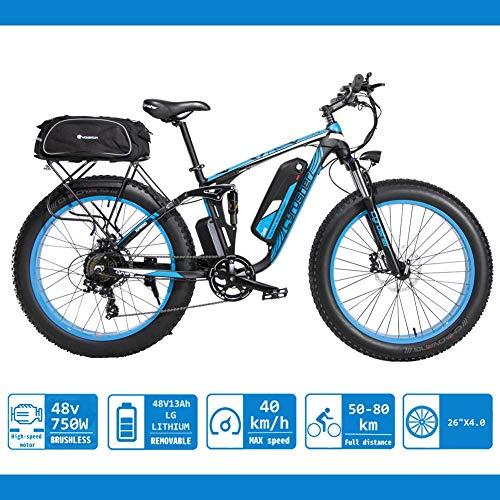 Extrbici XF800 26-Zoll-Fettreifen Elektrofahrrad 750W BaFang Motor 48V Männer und Frauen Mountainbike Fahrradpedalunterstützung, Lithiumbatterie Vollfederung hydraulische Scheibenbremse