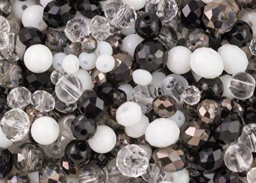400 cristaux en verre élégants noirs, blancs et transparents Rondelles et perles rondes Mix pour la confection de bijoux